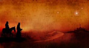 Mary et Joseph à travers le désert 2 Image stock