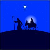 Mary et Joseph se sauvent en Egypte illustration de vecteur