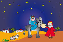 Mary et Joseph vers Bethlehem illustration stock