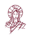 Mary face e. Hand drawn vector illustration or drawing of the face of Virgin Mary Stock Image