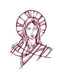 Mary font face à e illustration de vecteur