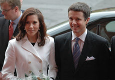 Mary and Frederik of Denmark. Denish crown Prince Frederik with his wife, Mary of Denmark - file image of 2004 Royalty Free Stock Images