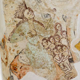 Mary on fresco from 14oo century. Mary as the Celestial Madonna shows up her breast in a church painting from the 1400s Stock Image