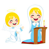 Mary Happy Praying. Mary praying happy and angel Gabriel bringing good news about Jesus birth Royalty Free Stock Photography
