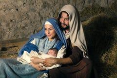 Mary i Joseph narodzenia jezusa scena fotografia royalty free