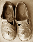 Mary Janes. Brown leather mary janes Royalty Free Stock Image