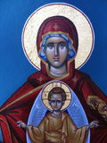 Mary and Jesus. Painting on an old church in Alassa, Cyprus Stock Photography