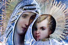 Mary and Jesus. Closeup of an ornate, antique, orthodox icon of Mary and baby Jesus royalty free stock image