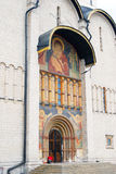 Mary and Jesus icon on the facade of Dormition church. Stock Photo