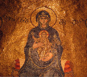 Mary and jesus - Medieval mosaic Royalty Free Stock Image