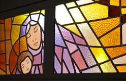 Mary and Jesus in a stained glass Royalty Free Stock Photography