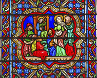 Mary Jesus Stained Glass Notre Dame Cathedral Paris France Royalty Free Stock Photo