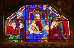 Mary Jesus Stained Glass Old Basilica Guadalupe Mexico City Mexico Fotografia de Stock Royalty Free