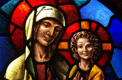 Mary and Jesus in stained glass Royalty Free Stock Photo