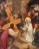 Антверпен - Иисус и Mary в перекрестном пути как часть цикла Josef Janssens от лет 1903 до 1910 в соборе нашей дамы стоковое фото