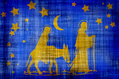 Mary and joseph. Mary,joseph and baby walking in desert Stock Photos