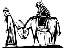 Mary and Joseph. Christmas image with woodcut style Mary and Joseph with donkey Royalty Free Stock Photography