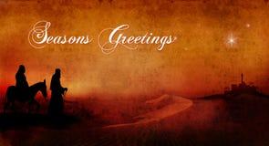 Mary and joseph across desert text Stock Photo