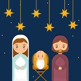 Holy family design. Mary joseph and baby jesus of holy family theme Vector illustration Royalty Free Stock Images