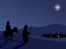 Mary and Joseph by Bethlehem. Mary and Joseph reach Bethlehem for the census Royalty Free Stock Photography
