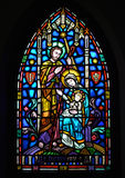 Mary Joseph and Jesus  - Stained Glass Royalty Free Stock Image