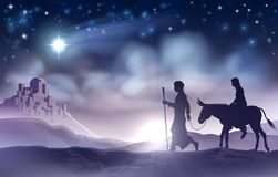 Mary and Joseph Nativity Christmas Illustration. A nativity Christmas illustration of the Virgin Mary and Joseph with donkey on their journey, the star of Royalty Free Stock Photo