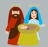 Mary and Joseph with the newborn Jesus Christ stock illustration