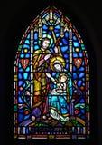 Mary Joseph och Jesus - målad glas Royaltyfri Bild