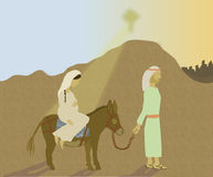Mary and Joseph's journey to Bethlehem. Illustration of Mary and Joseph traveling with a donkey on their way to Bethlehem Royalty Free Stock Photos