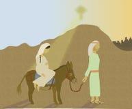 Mary and Joseph's journey to Bethlehem stock illustration
