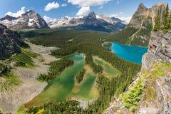 Mary Lake and Lake O`Hara Bird`s Eye View Royalty Free Stock Photography