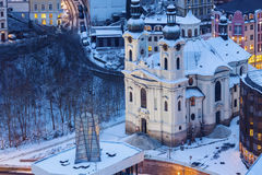 Mary Magdalene Church in Karlovy Vary. Karlovy Vary & x28;Carlsbad& x29;, Bohemia, Czech Republic stock photo