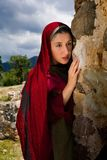 Mary Magdalene at Jesus` grave stock photography