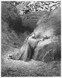 Mary Magdalene Repentant. Picture from The Holy Scriptures, Old and New Testaments books collection published in 1885, Stuttgart-Germany. Drawings by Gustave Royalty Free Stock Image