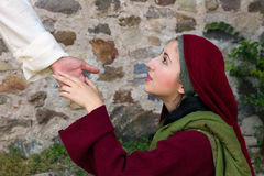 Mary Magdalene sees Jesus on Easter morning. Mary Magdalene recognizing Jesus after His Resurrection stock photos