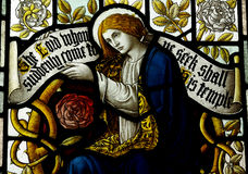 Mary Magdalene in stained glass Stock Images