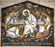 Mary Magdalene washes the feet of Jesus. Basilica of the Annunciation, Nazareth, Israel Stock Image