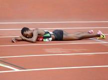 MARY MORAA от Кении после 400 metrs окончательных на чемпионате мира U20 IAAF в Тампере, Финляндии 12 стоковая фотография