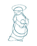 Mary Mother. Hand drawn vector illustration or drawing of Virgin Mary carrying her baby Jesus Royalty Free Stock Photography
