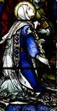 Mary, mother of Jesus in stained glass Stock Photos