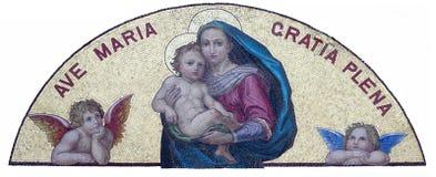 Mary och att behandla som ett barn Jesus Hail Mary som är full av nåd fotografering för bildbyråer