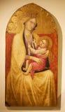 Mary och Jesus, panelmålning, Siena, Italien Royaltyfri Bild