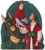 Mary och Joseph resande vid åsnan till Betlehem Kristi födelseberättelse Arkivbild