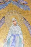 mary oskuld Mosaiskt framme av radbandbasilikan Lourdes Frankrike royaltyfri bild