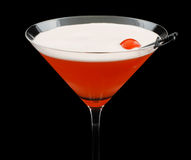 Mary Pickford cocktail. Consisting of rum, maraschino liqueur, pineapple juice and grenadine, garnished with a maraschino cherry Royalty Free Stock Image