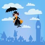 Mary Poppins летает над Лондоном также вектор иллюстрации притяжки corel Стоковые Изображения RF