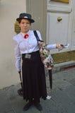 Mary Poppins cosplayer på Lucca komiker och lekar 2014 Arkivfoton