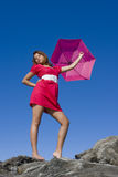 Mary Poppins dans le rose Images libres de droits