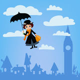 Mary Poppins flies over London.  Vector Illustration. Mary Poppins flies over London. Vector Illustration Royalty Free Stock Images