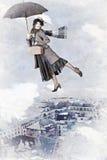 Mary Poppins flies on an umbrella Stock Photo